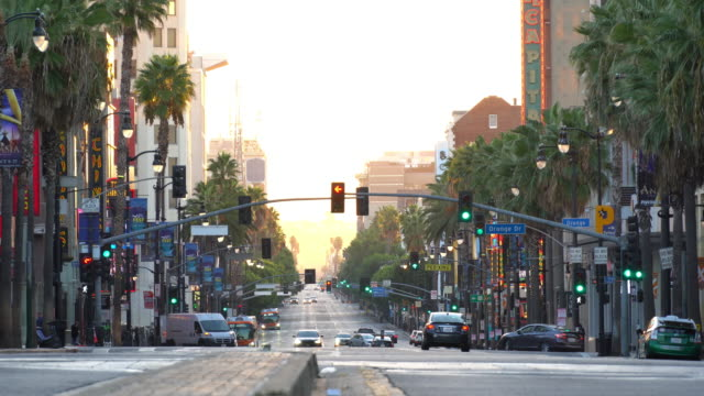 view of world famous hollywood boulevard district in los angeles, california, usa - viale video stock e b–roll