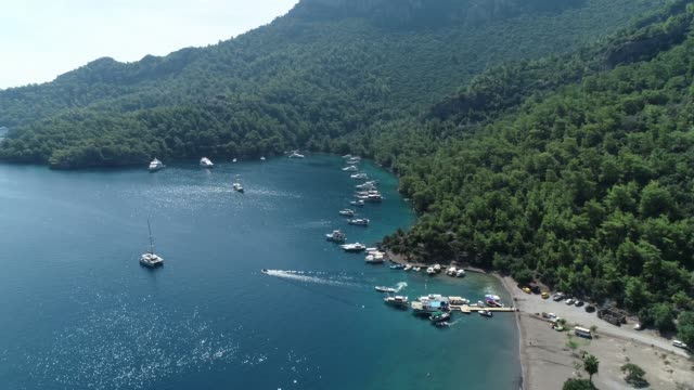 view of yachts and 'sarsala' bay in the 'dalaman' town/mugla mugla/turkey 11/18/2018 - fethiye video stock e b–roll