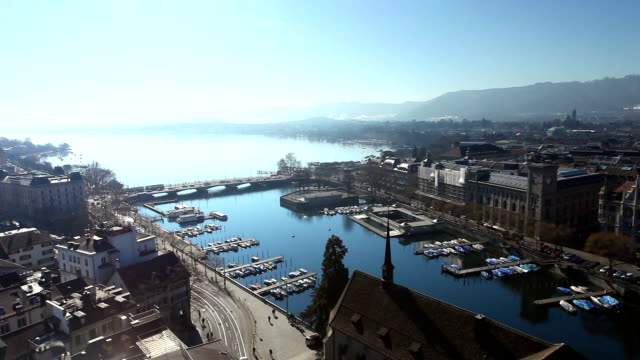 View of Zurich with alps in the background video
