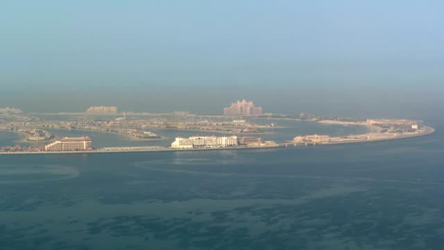 View on artificial island Palm Jumeirah in Dubai, UAE timelapse video
