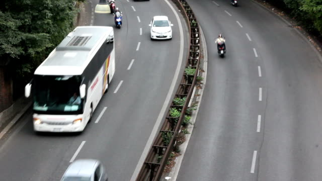 view on busy highway - bus stock videos and b-roll footage
