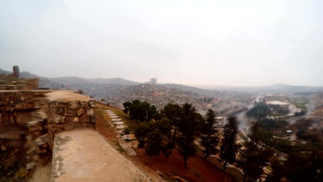 View on City and Park Khalil-ur-Rehman from Walls of Urfa Castle Snow and Rain video