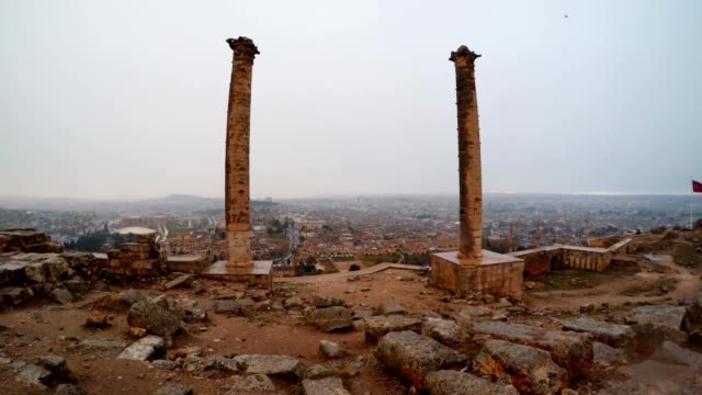 View on City Through Two Columns of Urfa Castle Snow and Rain video