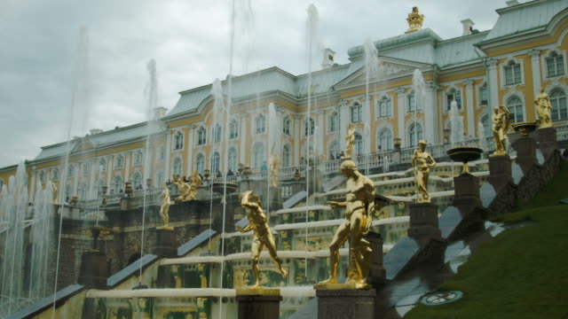 View on Grand Cascade fountains and Palace in Peterhof Russia