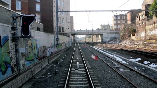 View on rails from a train going through city video
