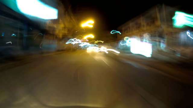POV view on Riding motorbike along the Night Asian Road Traffic. Time lapse. Thailand, Pattaya video