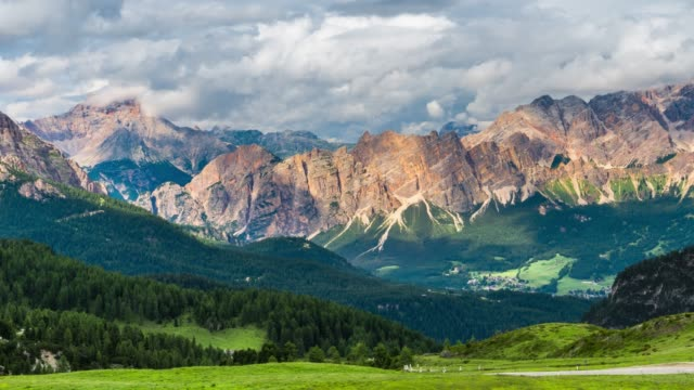 view  on the dolomites alps  , italy - passo montano video stock e b–roll
