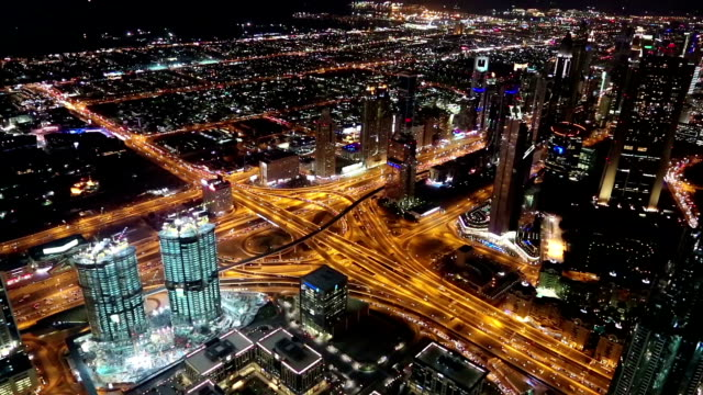 View on the night Sheikh Zayed road from Burj Khalifa skyscraper in Dubai, UAE video
