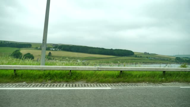View out of car window, UK british motorway m62 video