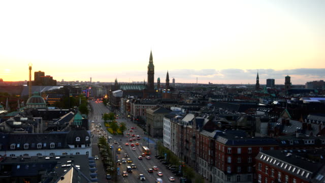 View over Copenhagen, Denmark at twilight Copenhagen skyline from top view in Denmark at twilight denmark stock videos & royalty-free footage