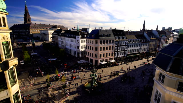 View over Copenhagen, Denmark with clear blue skies Copenhagen skyline from top view in Denmark with clear blue skies denmark stock videos & royalty-free footage