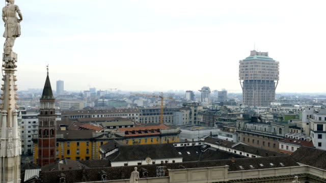 View over Milan from the top of the gothic Milan Cathedral, Italy video
