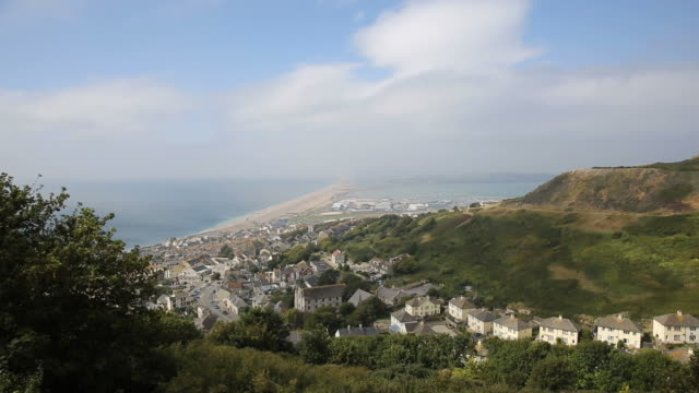 View over Portland and Chesil beach Dorset England UK video
