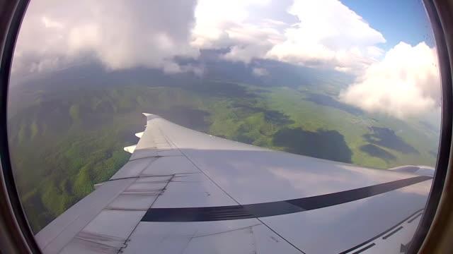 View through airplane window above Cuba video
