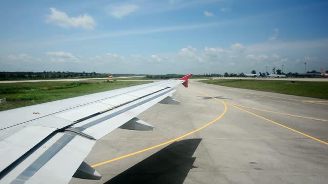 View through an airplane window video
