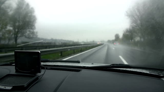HD SLOW: View through car's windscreen on rainy day video