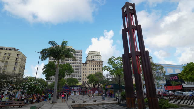 vídeos de stock e filmes b-roll de view to a square in downtown of fortaleza, ceara, brazil - climate clock