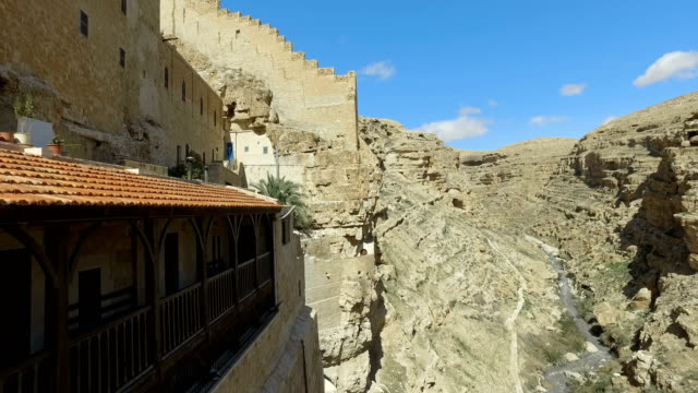 View to canyon from Greek Orthodox monastery Great Lavra. Marsaba monastery in the Judean desert in Israel