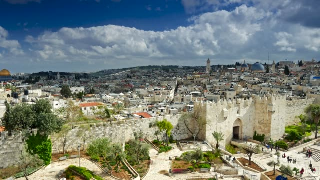 View to Damascus Gate and old Jerusalem City, Israel. Time lapse