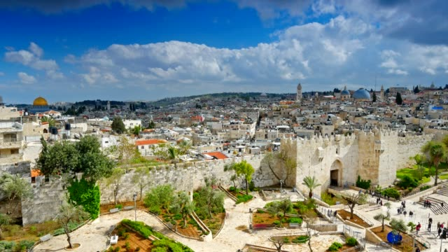 View to Damascus Gate and old Jerusalem City. Time lapse video