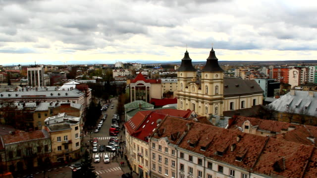 view to Ivano-Frankivsk from a bird's eye view with dark clouds video