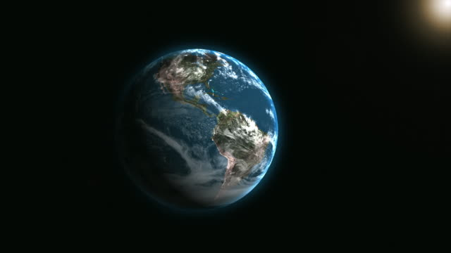 a view to the earth from space. 3d animation. 3d animation. - roteare video stock e b–roll