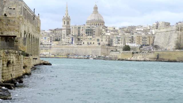 View toward the historic city of Valletta, Malta View toward the historic city of Valletta, Malta malta stock videos & royalty-free footage