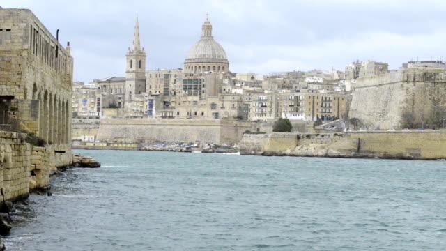 View toward the historic city of Valletta, Malta video