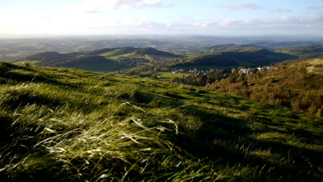 View west from the Malvern hills in Worcestershire, England. video