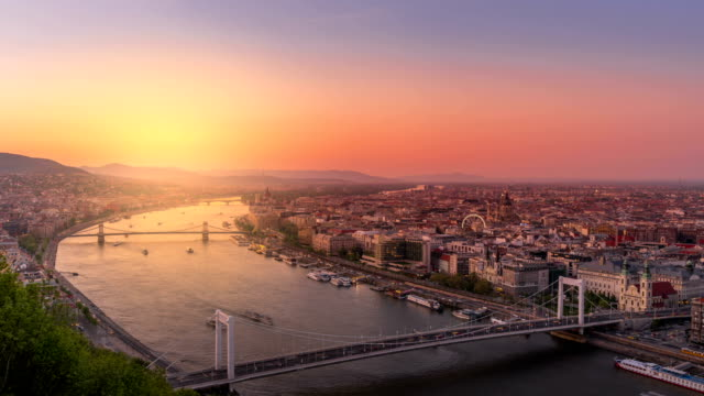 Views of the capital city of Hungary at sunset. Time Lapse views of the capital city of Hungary at sunset. hungary stock videos & royalty-free footage