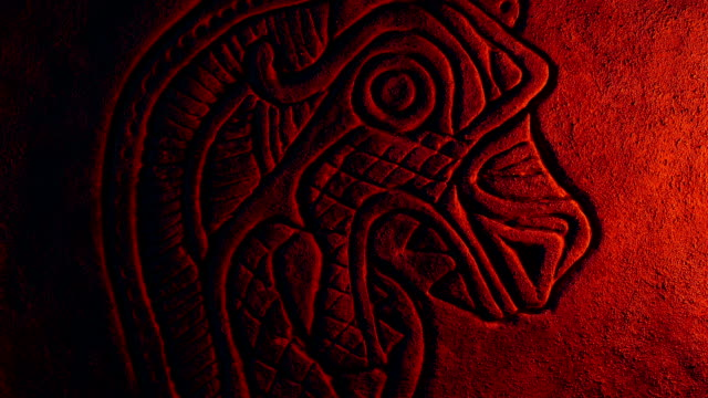 Viking Dragon Head Carving Lit Up In Firelight video