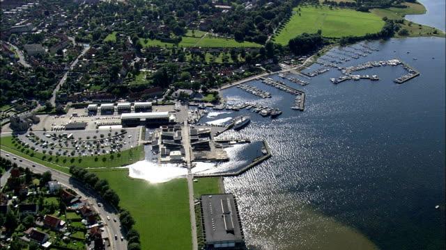Viking Ship Museum, Roskilde  - Aerial View - Zealand, Roskilde Kommune, Denmark video