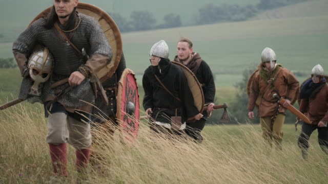 Vikings walking on a hill Vikings walking on a hill knight person stock videos & royalty-free footage