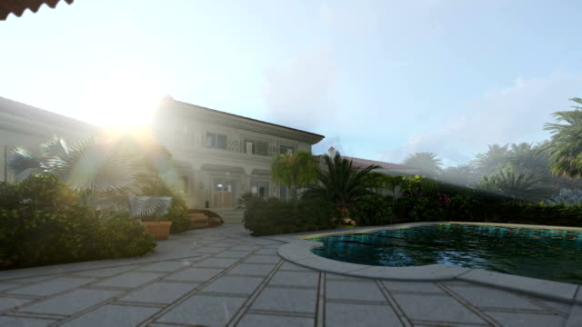 Villa with swimming pool for sale, morning lights video