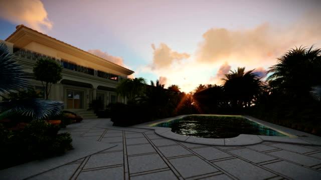 villa mit pool zu verkaufen, sonnenaufgang - grundstück stock-videos und b-roll-filmmaterial