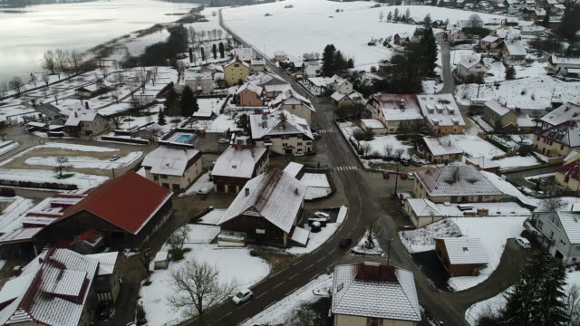 village of saint-point-lac in the doubs in france - formaggio comté video stock e b–roll
