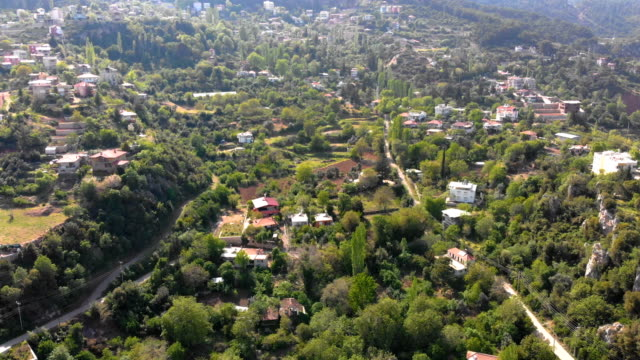 Village on the foothill Aerial shot of a mountainside with houses between trees. Caglarca/Antalya/Turkey - April 2018 vascular plants stock videos & royalty-free footage