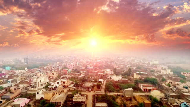 Village HD1080p: Elevated view of rural village located in Haryana, India. haryana stock videos & royalty-free footage