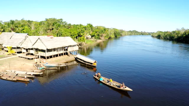Villages and river skiffs, Peruvian Amazon, Peru video