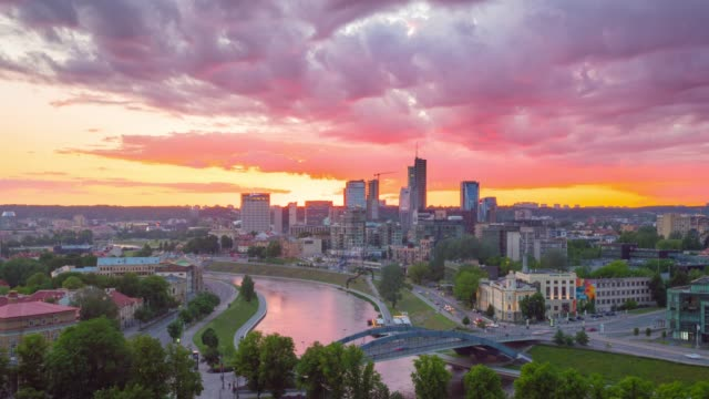 vilnius, lithuania - circa june, 2017: sunset in downtown vilnius, time-lapse - lituania video stock e b–roll