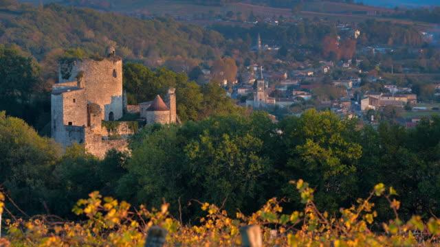 Vineyard and old castel in Sunrise - Landscape - Bordeaux Vineyard