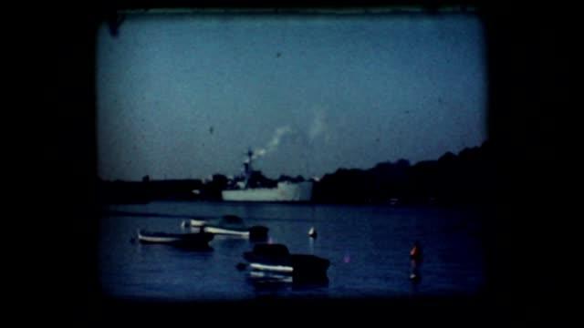 Vintage 8mm. Docked war ship video