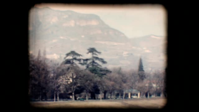 vintage 8 mm 。山と緑色の田園地帯 - チロル州点の映像素材/bロール