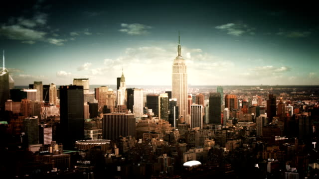 vintage aerial view of manhattan financial district-empire state building. - vintage architecture stock videos & royalty-free footage