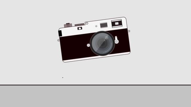 Vintage Camera appear suddenly on screen animation