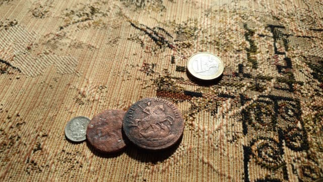 vintage coins close up. collection of old coins. - classical architecture stock videos & royalty-free footage