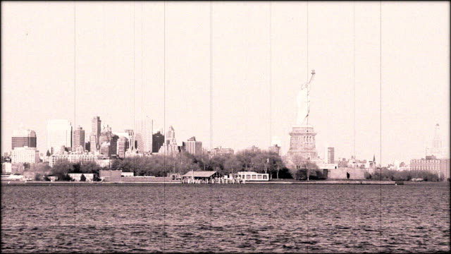 Vintage Damaged Film Statue of Liberty HD video