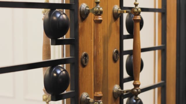 vintage door handle. wooden doorknob gate with keyhole. furniture