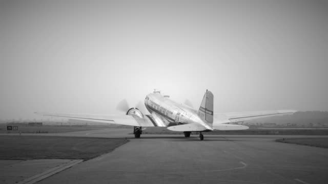 Vintage Douglas DC-3 propellor airplane ready for take off video