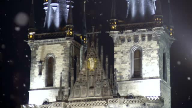 Vintage elements Prague Castle facade, ancient European architecture, heritage video